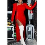 Lovely Party Zipper Design Red Evening Dress
