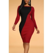 Lovely Patchwork Wine Red Knee Length Dress