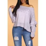 Lovely Sweet Flounce Design Light Purple Sweater
