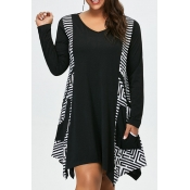 Lovely Casual Print Loose Black Plus Size Mini Dre