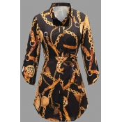 Lovely Casual Turndown Collar Print Black Plus Siz