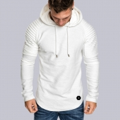 Lovely Casual Hooded Collar Ruffle Design White Ho