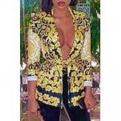 Lovely Bohemian Print Yellow Blazer