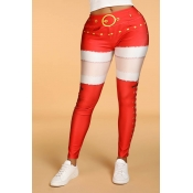 Lovely Leisure Patchwork Skinny Red  Leggings
