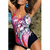 Lovely Bohemian Patchwork Red One-piece Swimsuit