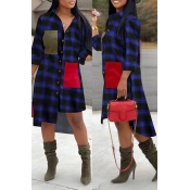 Lovely Chic Turndown Collar Plaid Blue Mid Calf Dr