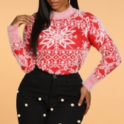 Lovely Christmas Day Snowflake Red Sweater