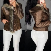 Lovely Casual Patchwork Brown Coat