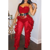 Lovely Trendy Flounce Patchwork Red One-piece Jump