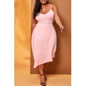 Lovely Casual Spaghetti Straps Pink Mid Calf Plus