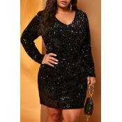 Lovely Sexy V Neck Black Plus Size Mini Dress