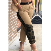 Lovely Casual Camo Print Khaki Pants