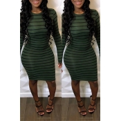 Lovely Casual Striped Olive Knee Length Dress