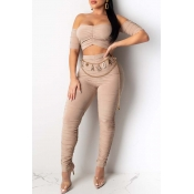 Lovely Trendy Dew Shoulder Apricot Two-piece Pants