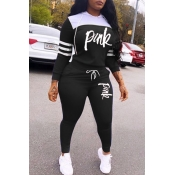 Lovely Casual Hooded Collar Letter Black Two-piece