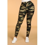 Lovely Casual Camo Print Skinny Army Green Legging