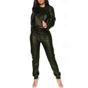 Lovely Leisure Hooded Collar Crop Top Army Green P