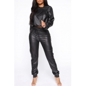 Lovely Leisure Hooded Collar Crop Top Black PU Two
