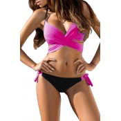 Lovely Lace-up Rose Red Two-piece Swimwear