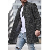Lovely Casual Basic Print Dark Grey Coat