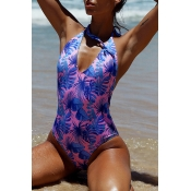 Lovely Print Purple One-piece Swimsuit