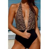 Lovely Deep V Neck Leopard One-piece Swimwear