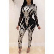 Lovely Trendy Patchwork Silver One-piece Jumpsuit