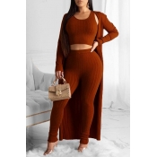 Lovely Trendy Basic Skinny Purplish Red Three-piece Pants Set