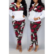 Lovely Trendy Camo Patchwork Red Two-piece Pants Set