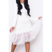 Lovely Sweet Turtleneck White Mid Calf Dress