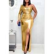 Lovely Party One Shoulder Gold Maxi Dress