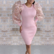 Lovely Sweet Patchwork Pink Knee Length Dress