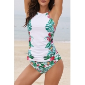 Lovely Print White One-piece Swimsuit