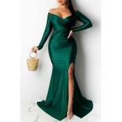 Lovely Party V Neck Side Slit Green Trailing Prom