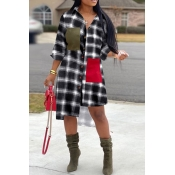 Lovely Chic Turndown Collar Plaid White Mid Calf D