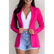 Lovely Chic Basic Rose Red Blazer