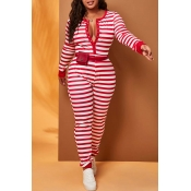 Lovely Casual Striped Red Plus Size One-piece Jump