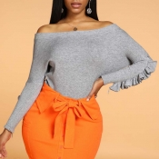Lovely Casual Flounce Design Grey Sweater