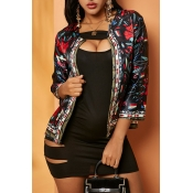 Lovely Casual Print Black Coat