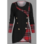 Lovely Casual Patchwork Plaid Black Plus Size Swea