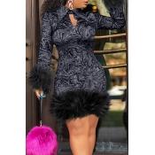 Lovely Chic Turndown Collar Patchwork Black Knee Length Prom Dress