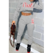 Lovely Casual Print Light Grey Two-piece Pants Set