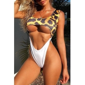 Lovely Hollow-out Print Leopard One-piece Swimsuit