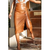 Lovely Casual Buttons Brown PU Knee Length Skirt