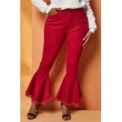 Lovely Casual Flared Red Jeans