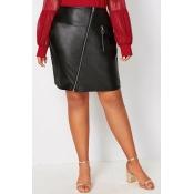 Lovely Casual Zipper Design Black Plus Size Skirt