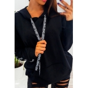 Lovely Casual Hooded Collar Letter Printed Black H