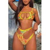 Lovely Hollow-out Yellow Two-piece Swimsuit