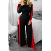 Lovely Trendy Side High Slit Black One-piece Jumps