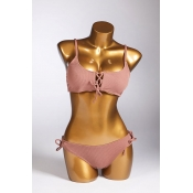 Lovely Lace-up Dark Pink Two-piece Swimsuit